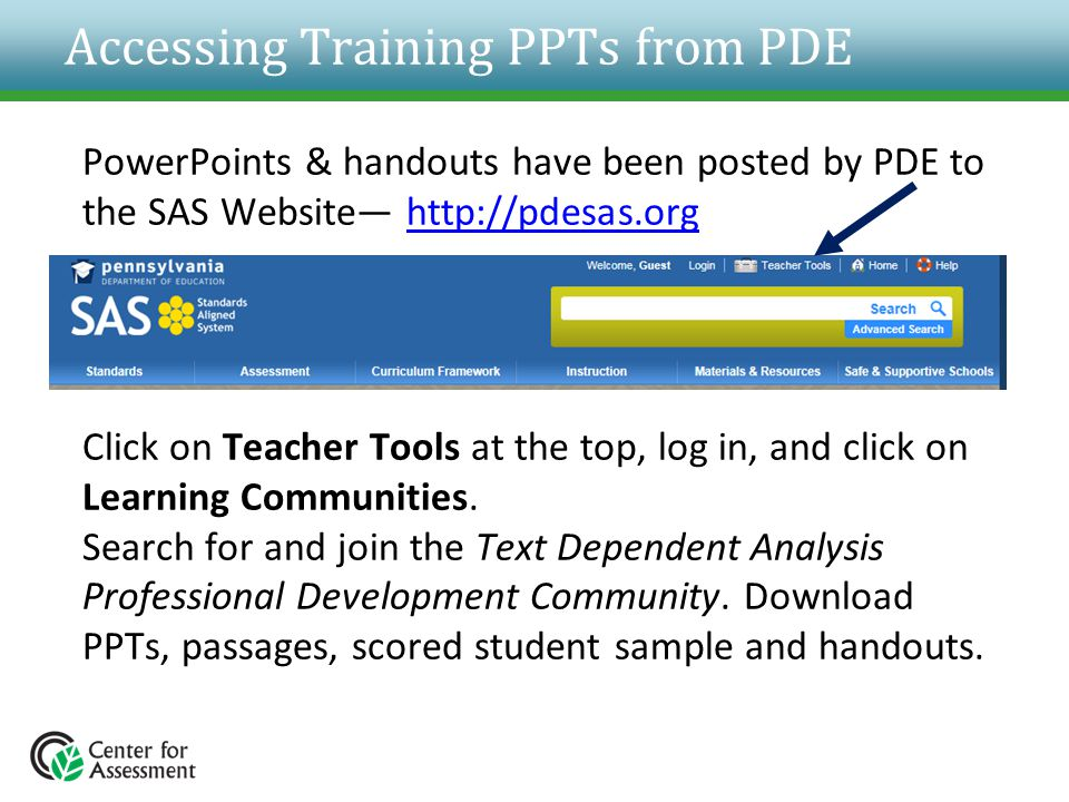 Accessing Training PPTs from PDE