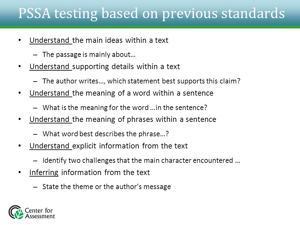 PSSA testing based on previous standards