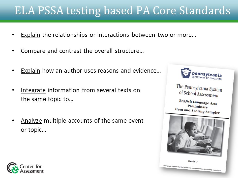 ELA PSSA testing based PA Core Standards