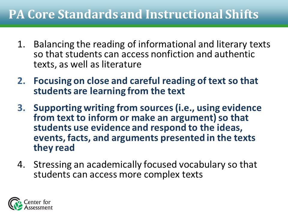 PA Core Standards and Instructional Shifts