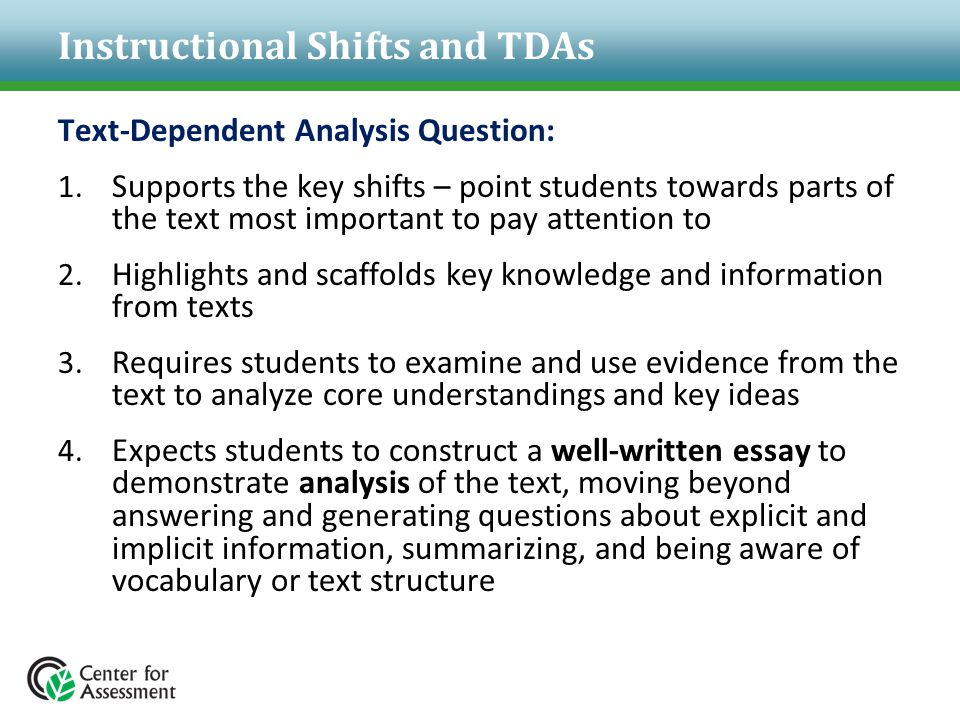 Instructional Shifts and TDAs