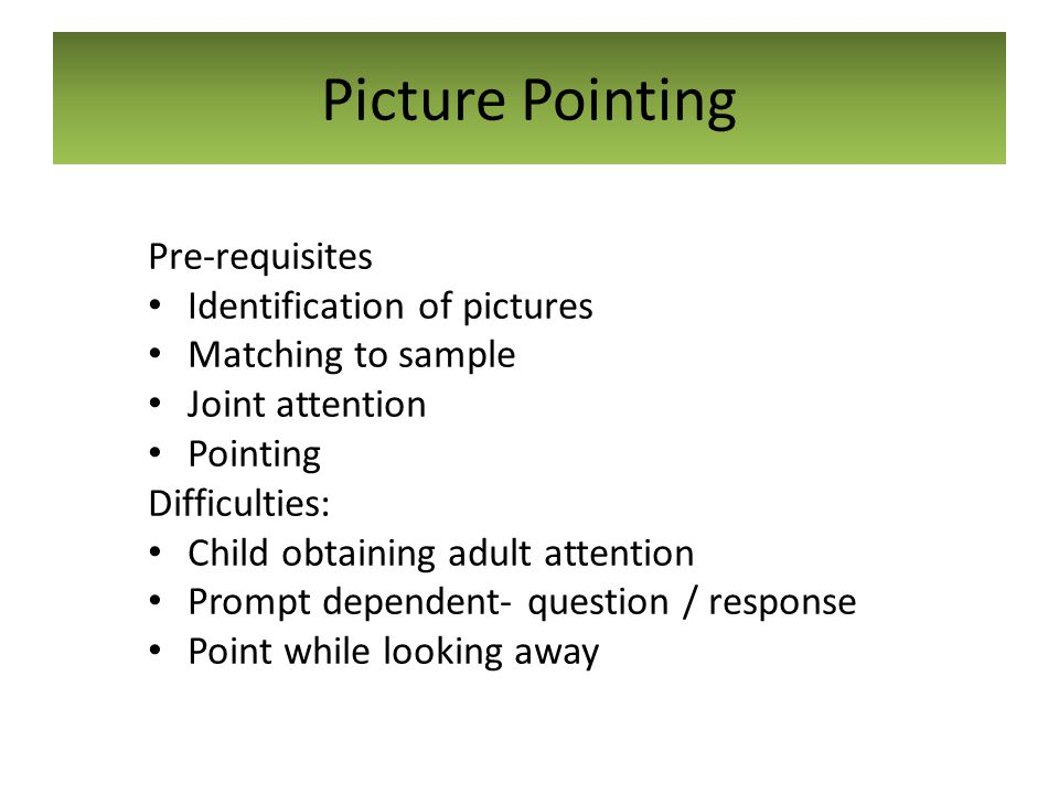 Picture Pointing Pre-requisites Identification of pictures