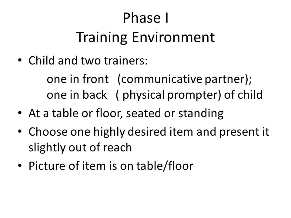Phase I Training Environment