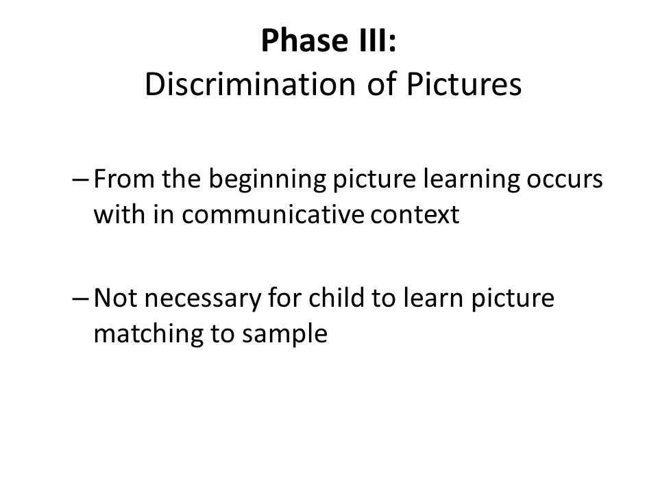 Phase III: Discrimination of Pictures