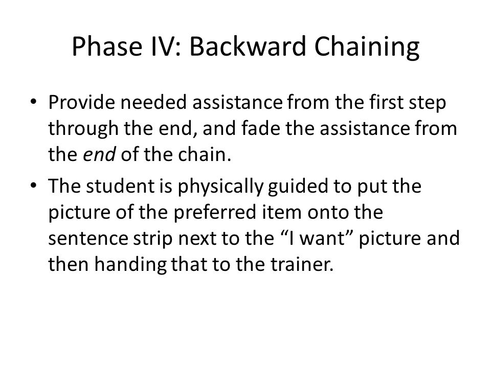 Phase IV: Backward Chaining