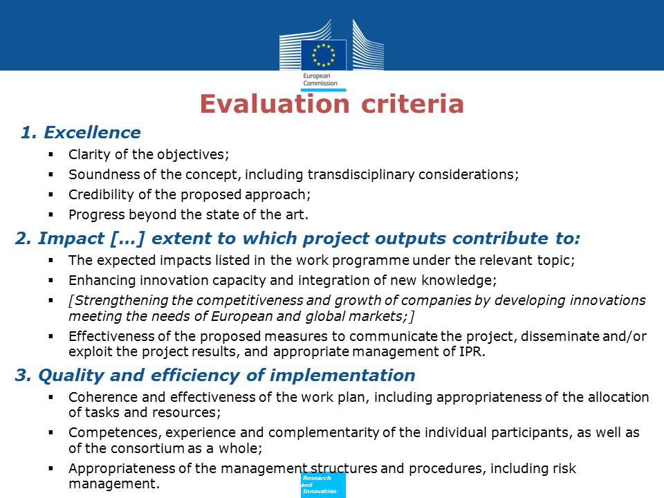 Evaluation criteria 1. Excellence