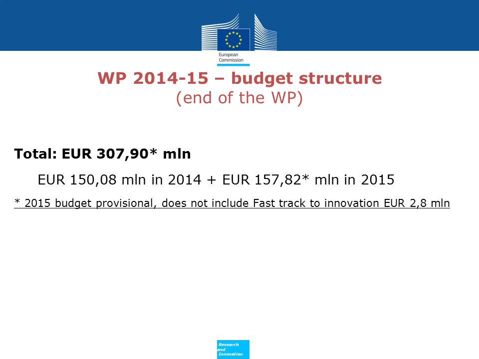 WP 2014-15 – budget structure (end of the WP)