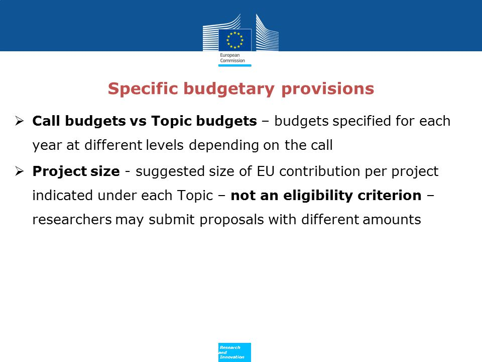 Specific budgetary provisions