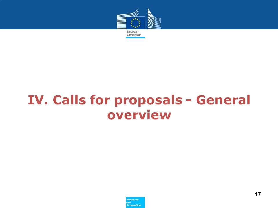 IV. Calls for proposals - General overview