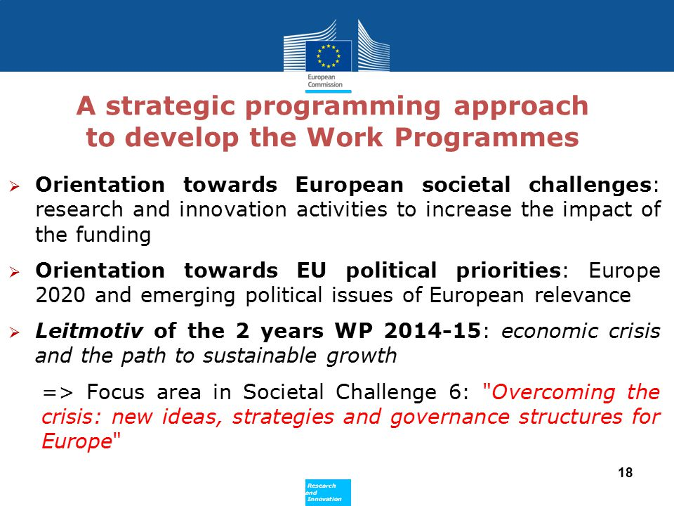 A strategic programming approach to develop the Work Programmes