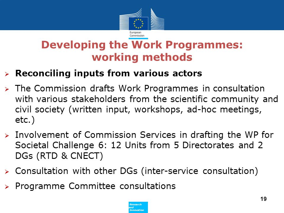 Developing the Work Programmes: working methods