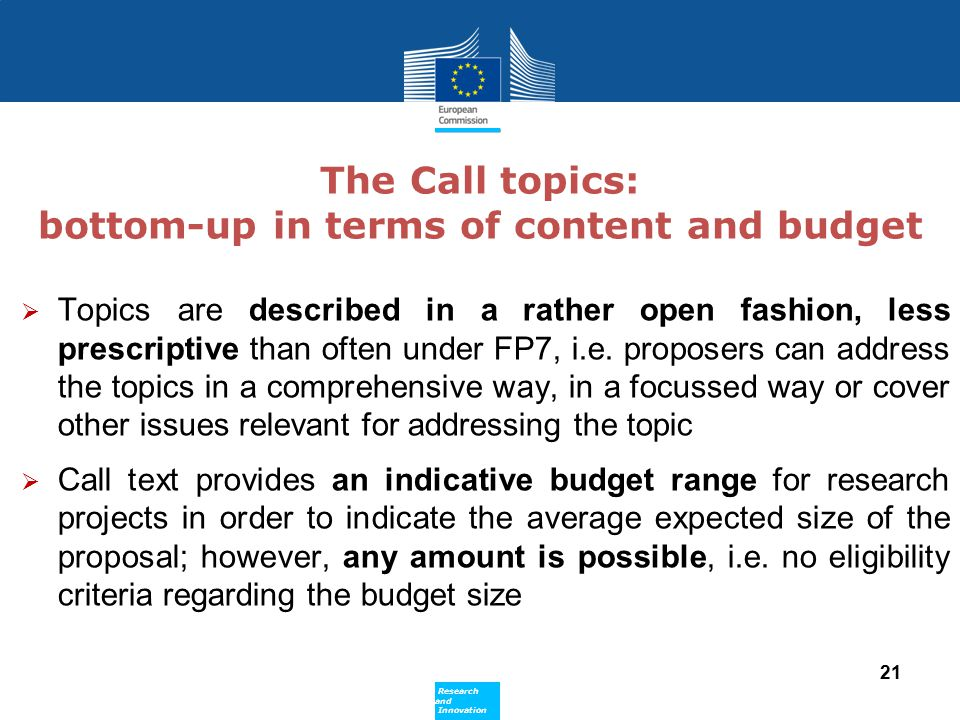 The Call topics: bottom-up in terms of content and budget