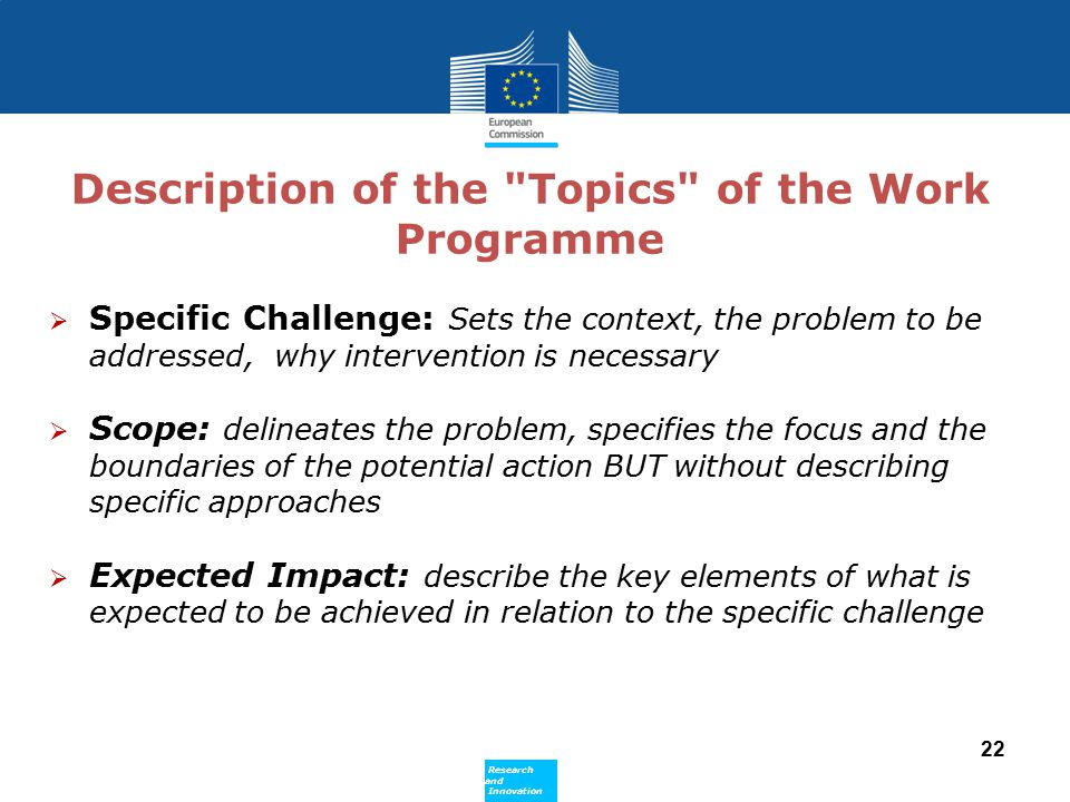 Description of the Topics of the Work Programme