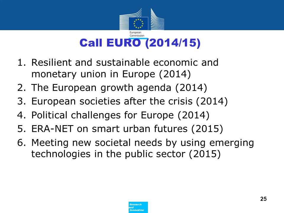 Call EURO (2014/15) Resilient and sustainable economic and monetary union in Europe (2014) The European growth agenda (2014)
