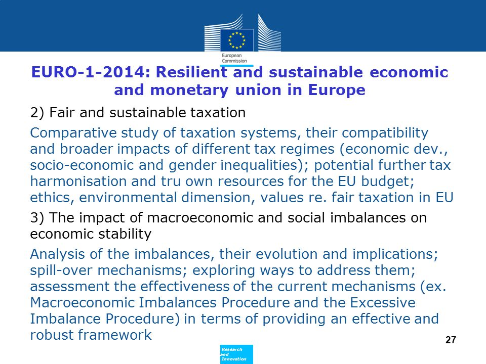 EURO-1-2014: Resilient and sustainable economic and monetary union in Europe