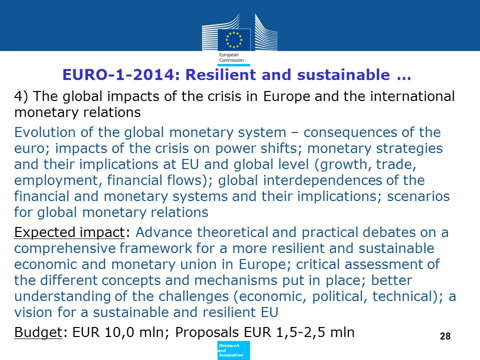 EURO-1-2014: Resilient and sustainable …