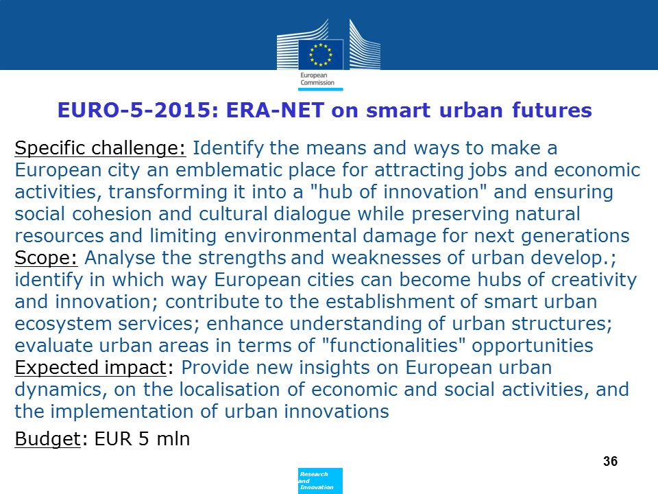 EURO-5-2015: ERA-NET on smart urban futures