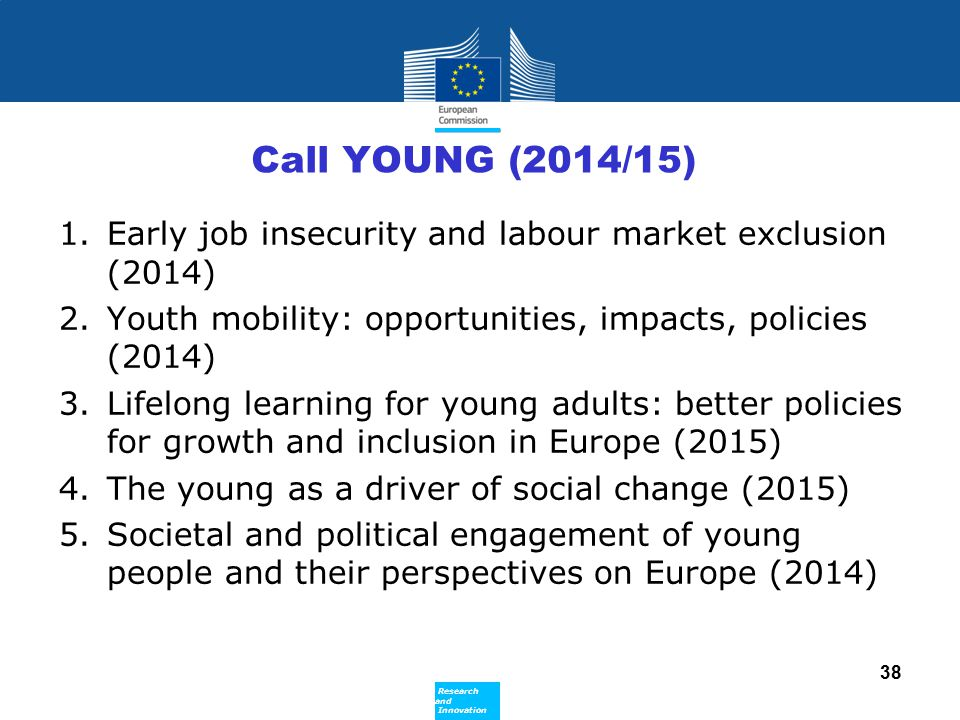 Call YOUNG (2014/15) Early job insecurity and labour market exclusion (2014) Youth mobility: opportunities, impacts, policies (2014)