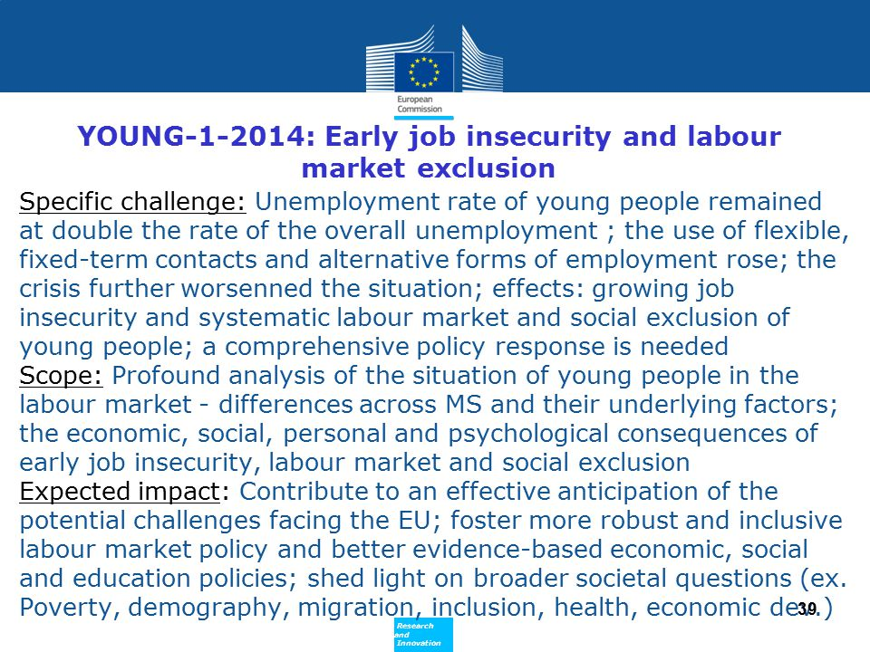 YOUNG-1-2014: Early job insecurity and labour market exclusion