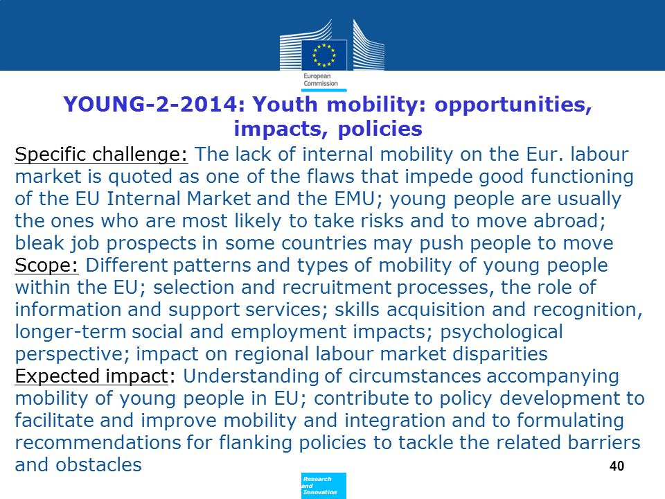 YOUNG-2-2014: Youth mobility: opportunities, impacts, policies