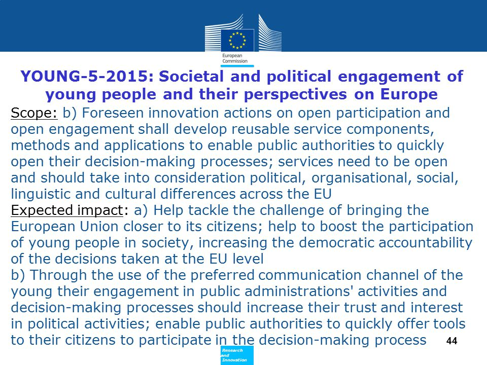 YOUNG-5-2015: Societal and political engagement of young people and their perspectives on Europe