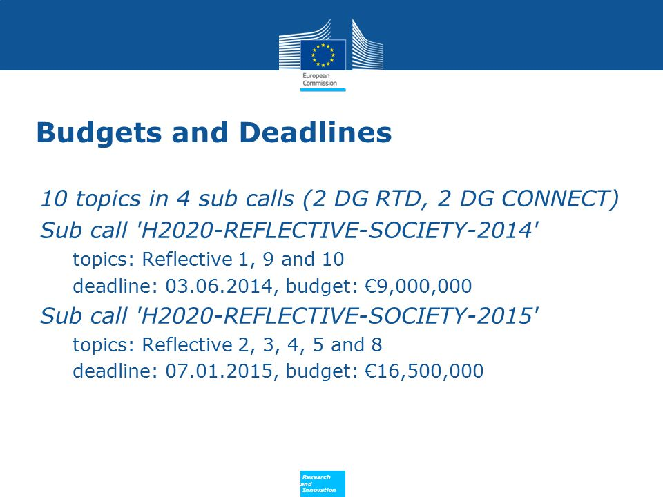 Budgets and Deadlines 10 topics in 4 sub calls (2 DG RTD, 2 DG CONNECT) Sub call H2020-REFLECTIVE-SOCIETY-2014
