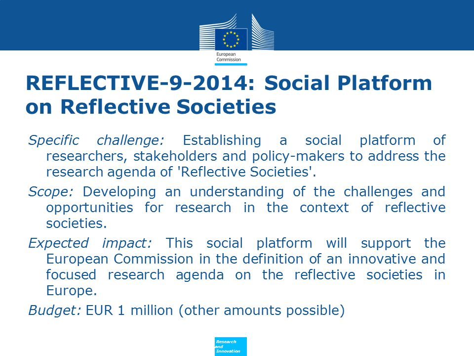 REFLECTIVE-9-2014: Social Platform on Reflective Societies