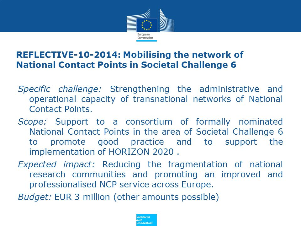 REFLECTIVE-10-2014: Mobilising the network of National Contact Points in Societal Challenge 6