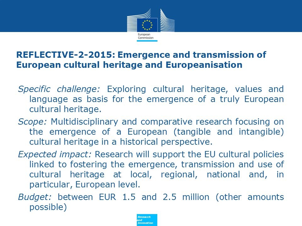 REFLECTIVE-2-2015: Emergence and transmission of European cultural heritage and Europeanisation