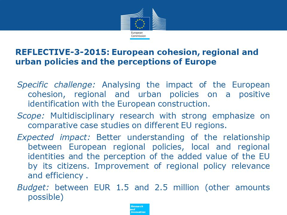 REFLECTIVE-3-2015: European cohesion, regional and urban policies and the perceptions of Europe