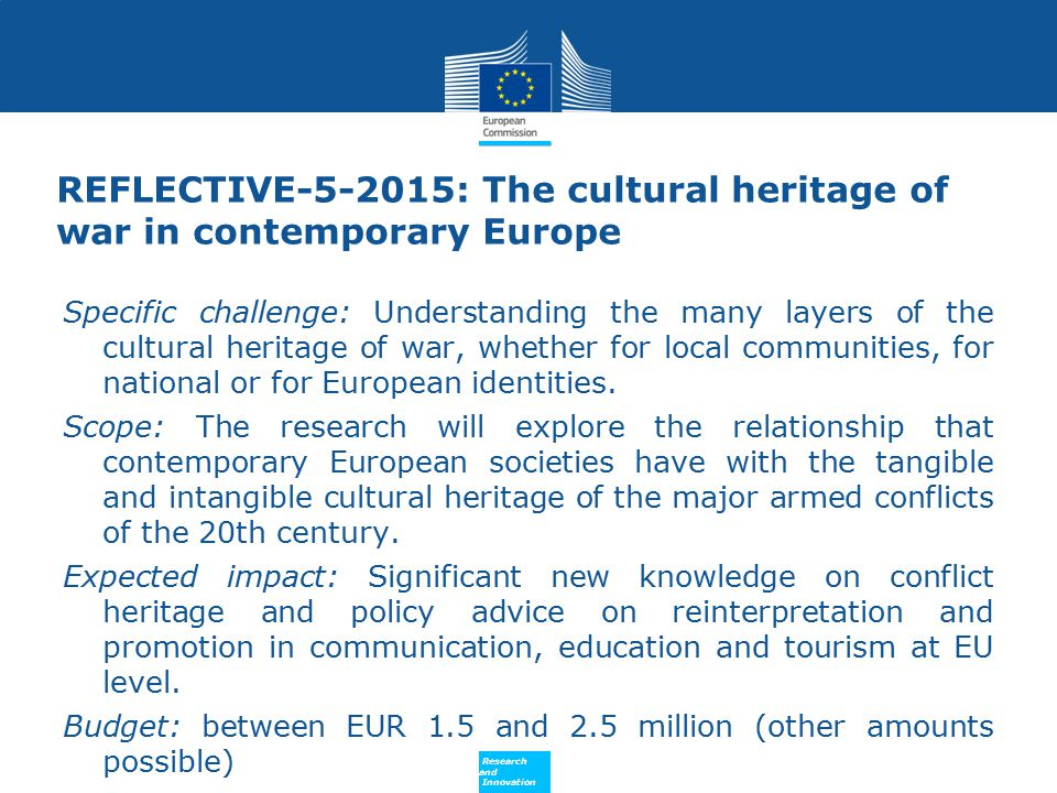 REFLECTIVE-5-2015: The cultural heritage of war in contemporary Europe