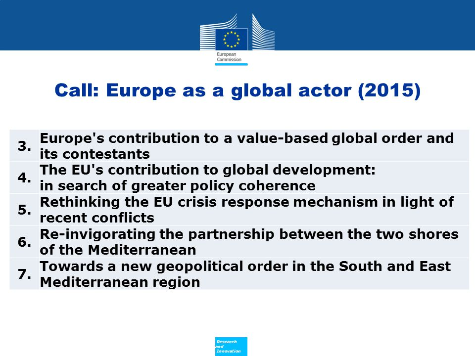 Call: Europe as a global actor (2015)