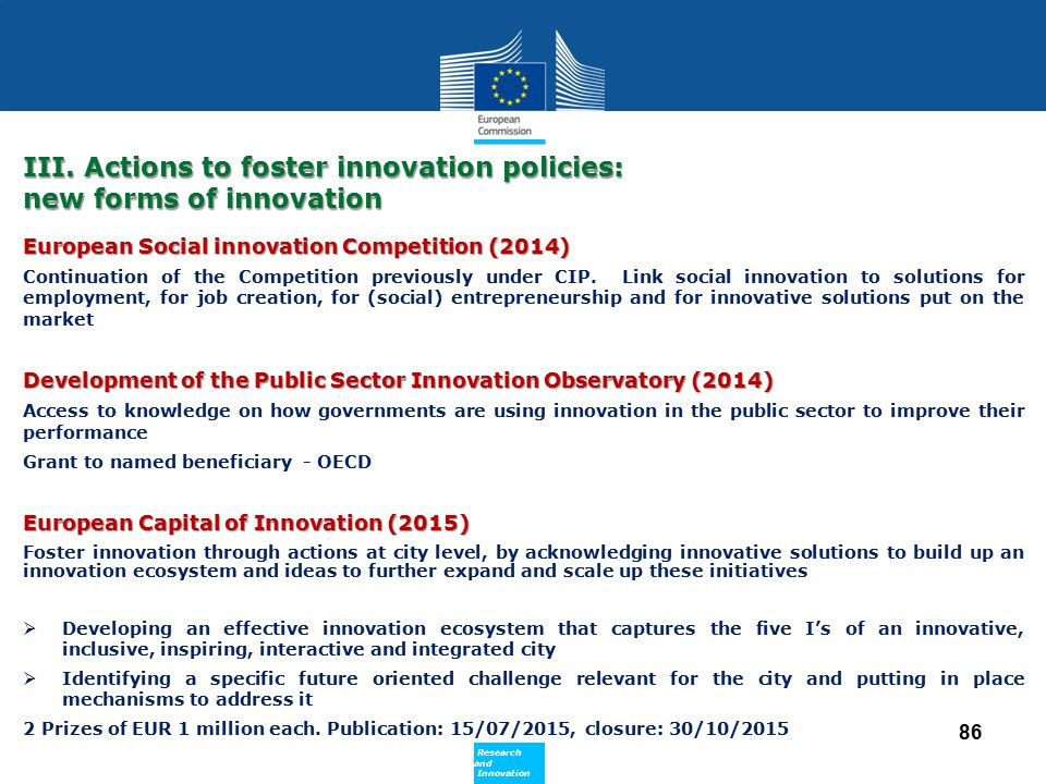 III. Actions to foster innovation policies: new forms of innovation