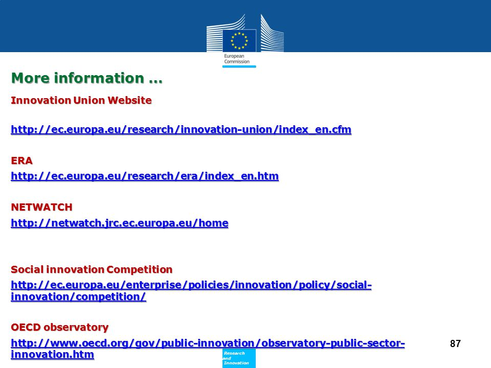 More information … Innovation Union Website