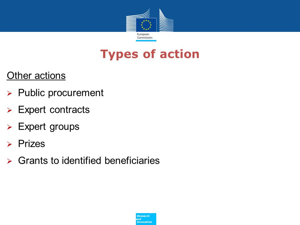 Types of action Other actions Public procurement Expert contracts
