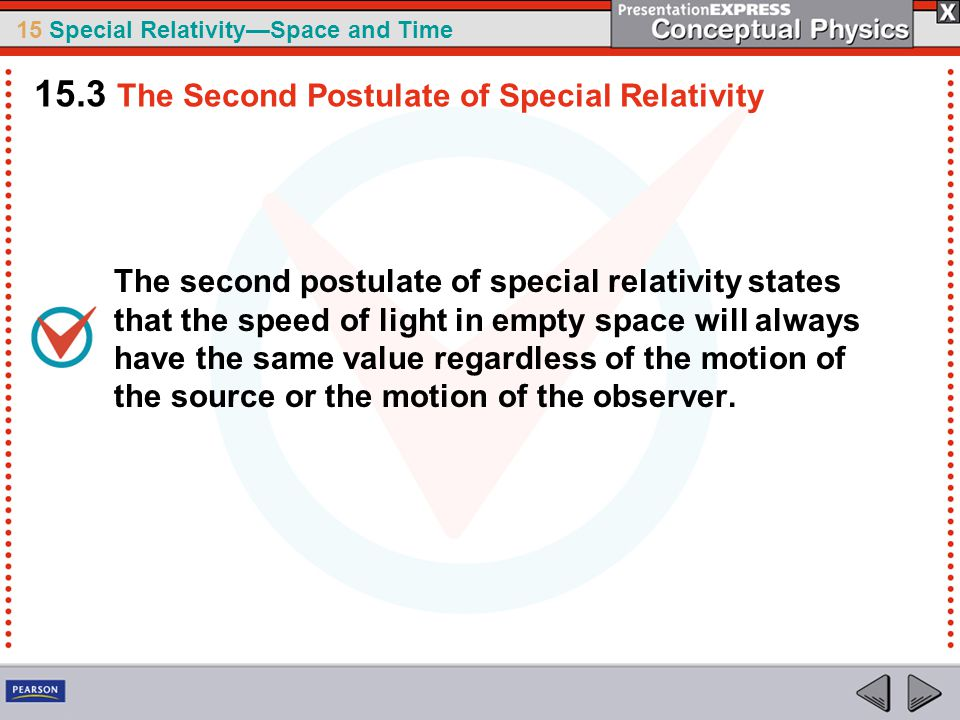 15.3 The Second Postulate of Special Relativity