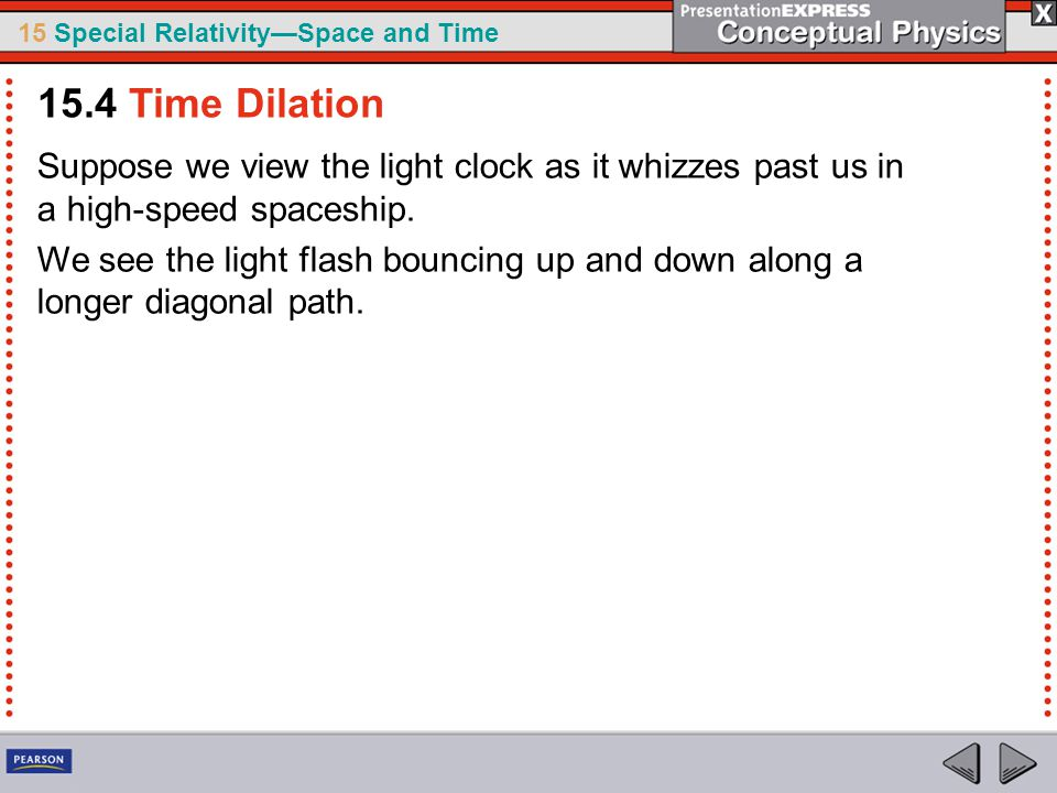 15.4 Time Dilation Suppose we view the light clock as it whizzes past us in a high-speed spaceship.