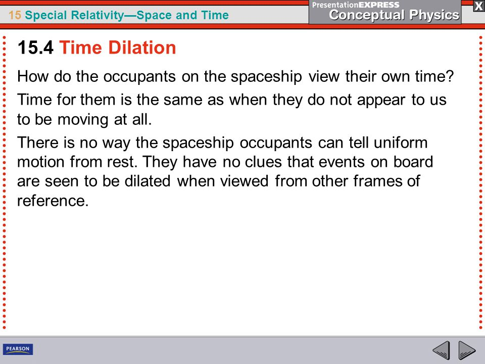 15.4 Time Dilation How do the occupants on the spaceship view their own time