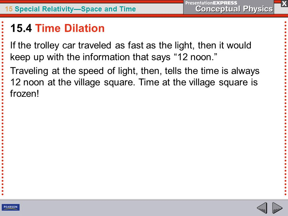 15.4 Time Dilation If the trolley car traveled as fast as the light, then it would keep up with the information that says 12 noon.