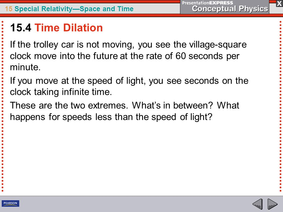 15.4 Time Dilation If the trolley car is not moving, you see the village-square clock move into the future at the rate of 60 seconds per minute.