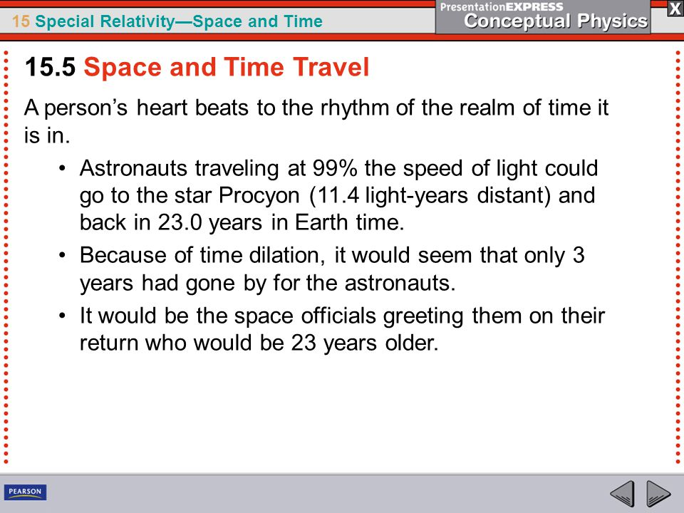 15.5 Space and Time Travel A person's heart beats to the rhythm of the realm of time it is in.