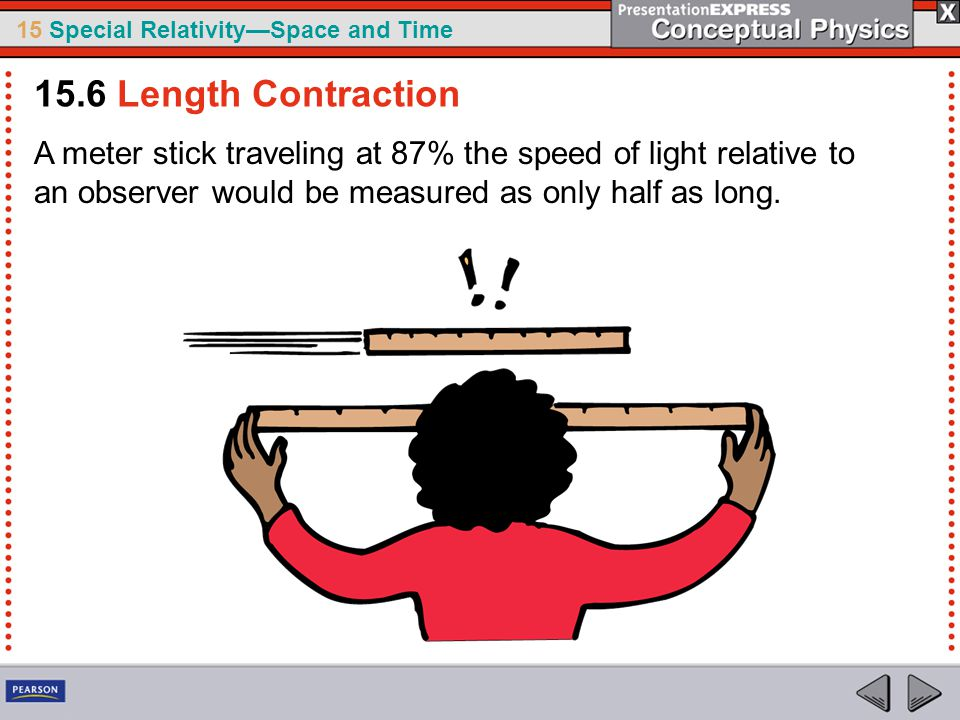 15.6 Length Contraction A meter stick traveling at 87% the speed of light relative to an observer would be measured as only half as long.