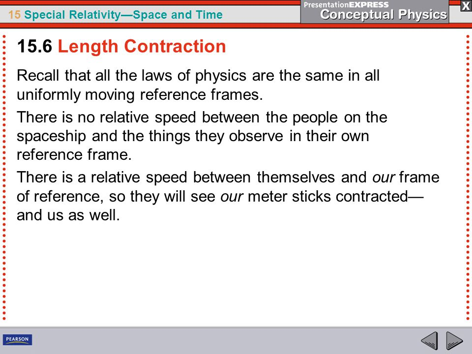 15.6 Length Contraction Recall that all the laws of physics are the same in all uniformly moving reference frames.