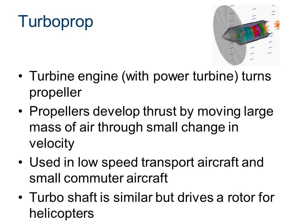 Turboprop Turbine engine (with power turbine) turns propeller