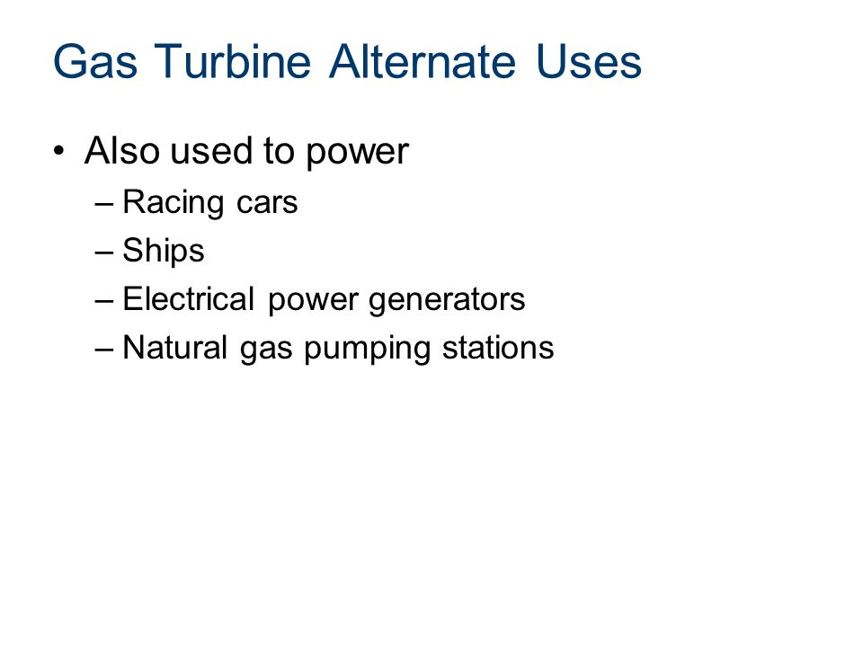 Gas Turbine Alternate Uses