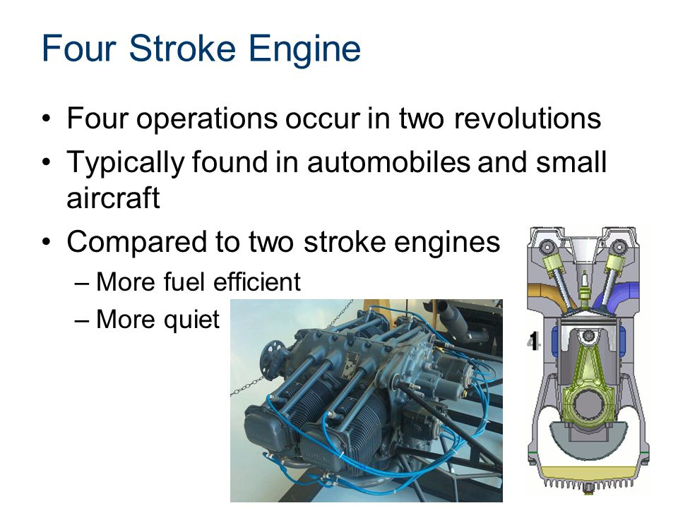 Four Stroke Engine Four operations occur in two revolutions
