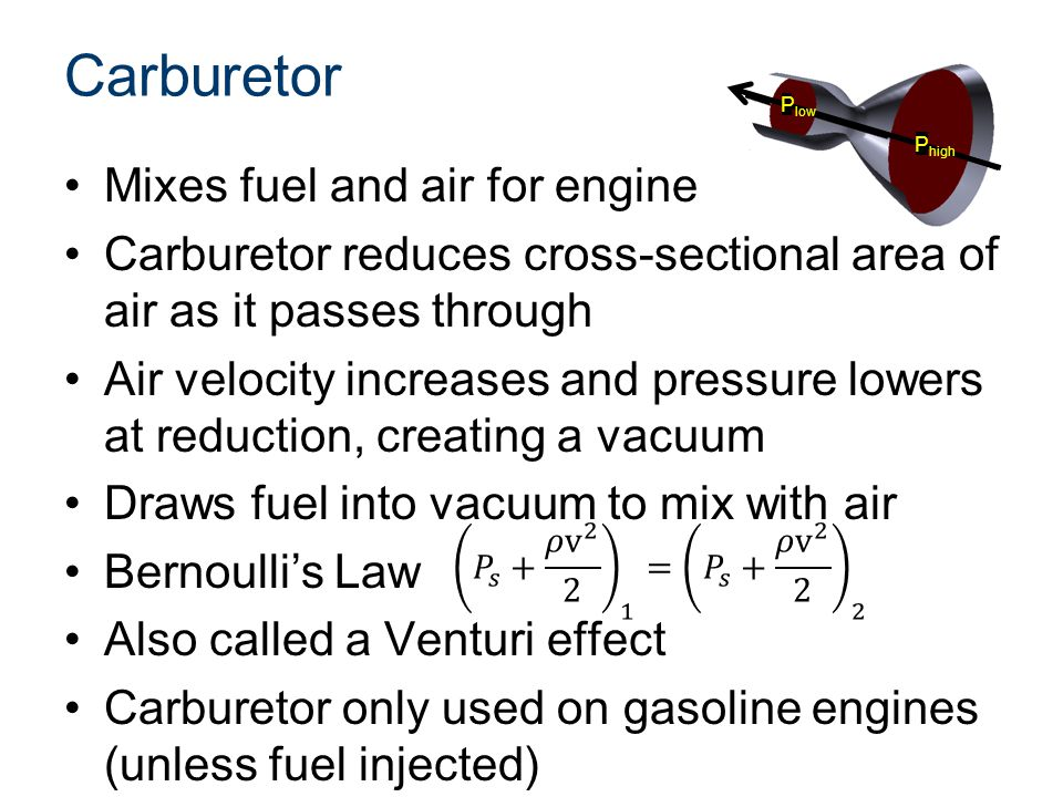Carburetor Mixes fuel and air for engine