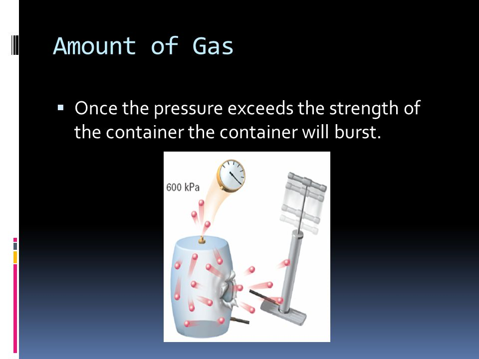 Amount of Gas Once the pressure exceeds the strength of the container the container will burst.