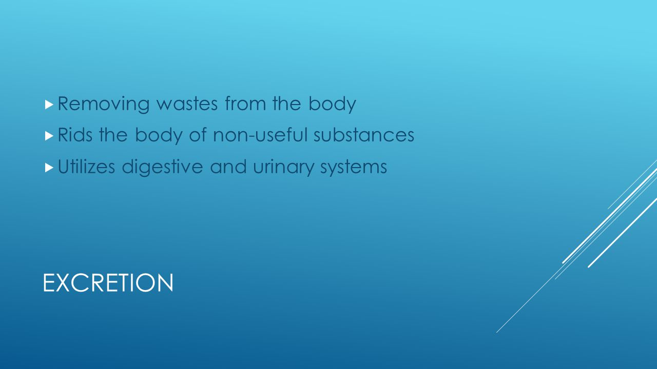Excretion Removing wastes from the body