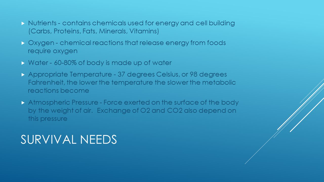 Nutrients - contains chemicals used for energy and cell building (Carbs, Proteins, Fats, Minerals, Vitamins)